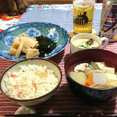 おうちご飯/仕事始め/残り物/片付いた かまぼこや三つ葉は茶碗蒸し、煮しめに半分…