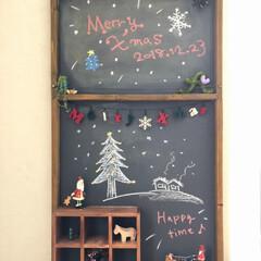 クリスマス/クリスマスパーティ/黒板ボード/黒板アート/クリスマスデコレーション/クリスマスディスプレイ/... イブイブでクリスマスパーティ🎄 黒板ボー…