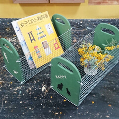 DIY/焼き網BOX/ミモザ/マガジンラック/収納 お客様の作品♪ 焼き網BOXの完成です^…