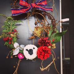 玄関飾り/羊毛フェルト/リース/ひつじさん/冬/おうち/... 庭の木々や実で仕上げました。ブローチ用に…