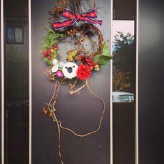 玄関飾り/羊毛フェルト/リース/ひつじさん/冬/おうち/... 庭の木々や実で仕上げました。ブローチ用に…(2枚目)