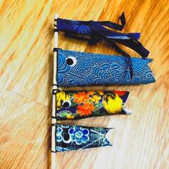 ピック手作り/こいのぼり/着物生地/雑貨/ハンドメイド/わたしの手作り 家にあった着物の生地でこいのぼりのピック…