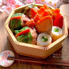 OBENTO/赤飯おにぎり/鮭弁/お弁当作り/桜もち風おにぎり/お弁当/... 桜もちが食べたいな🌸なんて季節がやってき…