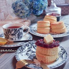 ホットケーキミックスレシピ/ホットケーキミックス/ホケミ/スコーン/あんバター/あんバタースコーン/... ❁朝仕込んでおいた生地をおやつタイムに …