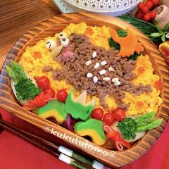 Japanesefood/OBENTO/お弁当作り/そぼろ丼/いのしし年/あけおめ/... イノシシ年にちなんでイノシシそぼろあけお…