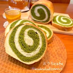 パン作り/パン作り大好き/抹茶/渦巻きぱん/手作りパン/フォロー大歓迎/... うずまきまきパンを焼きました😆 円筒のパ…