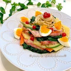 うつわ日和/器好き/パスタ皿/パスタ/おうちご飯クラブ/おうちcafé/... カルボナーラを作ろうとしてたらや野菜たく…