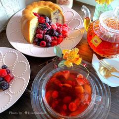 ググロフケーキ/手作りマーブルケーキ/手作りケーキ/手作りcake/おうちカフェ/フルーティー/... おうちカフェでこんにちは⤴ 手作りおやつ…