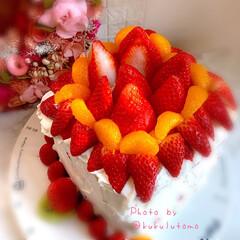 おやつ作り/美味しいひととき/親子クッキング/家族でお祝い/家族時間/お誕生日おめでとう/... ❁スクエアいちごたっぷり誕生日ケーキ❁ …