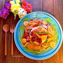 韓の食菜 チャプチェ(その他調味料、料理の素、油)を使ったクチコミ「おうち時間を楽しもう⤴︎スティホーム土日…」