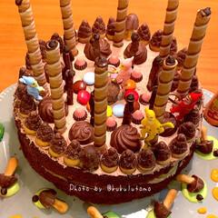 おうちcafé/おウチカフェ/誕生日おめでとう/誕生日ケーキ/リミアの冬暮らし/ハンドメイド/... お誕生日ケーキ🎂を3つマッハで 夕方から…