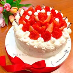 誕生日プレゼント/誕生日ケーキ/手作りスイーツ/手作りケーキ/わたしのごはん/おうちごはんクラブ/... 誕生日ケーキを作りました🤗旦那様の誕生日…