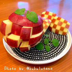 りんご飾り切り/りんごでおもちゃ/遊び心/りんごジェンカ/食育/ジェンカ/... りんごのジェンカを作り息子と息子の友だち…
