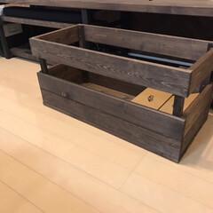 木箱/DIY/住まい/ウォールナット/箱/TVボード 木箱  TVボードにすっぽり^_^