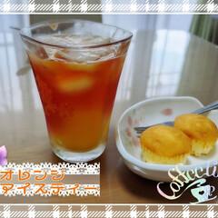 マフィン/アイスティー/おうちカフェ 本日のおやつ。 ミニマフィンとオレンジア…