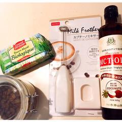 MCTオイル(ココナッツオイル)グ.../バターコーヒー/流行り/ダイソー 最近、流行りのバターコーヒーを作ってみた…