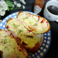 朝食/フランスパン/ピザトースト/フード/グルメ 今日の朝食❗相変わらずピザトースト……
