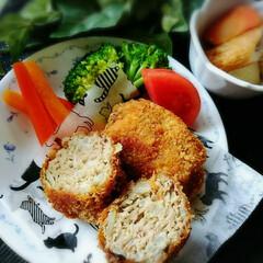 夕食/フード/グルメ/ハンドメイド 今日の夕食🎵メンチカツです🍴