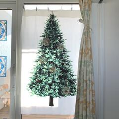 タペストリー/窓/二階ホール/クリスマス飾り/ツリータペストリー/廊下/... 二階に上がりきった所にあるベランダの窓に…
