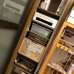 カラボ/セリア/猫と暮らす/収納/DIY/100均 お盆の間にプリンターなどを収納する棚を作…