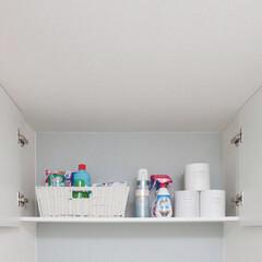 トイレ上部収納/隠す収納/家事室/サニタリー/掃除道具/洗剤/...  こちらの扉付き収納は、トイレ上部のデッ…(2枚目)