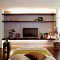 nankaiplywood/南海プライウッド/収納生活/収納/建材/内装材/... 3段にレイアウトしたベッドルームのテレビ…