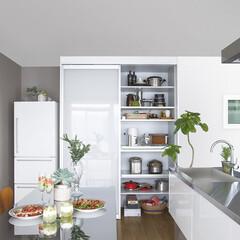 ユニモ2/スライドテーブル/引き出し/パールグレー/棚/隠す/... キッチン家電や食器、ダストボックスまでが…