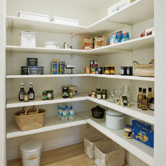 nankaiplywood/南海プライウッド/収納生活/収納/建材/内装材/... キッチン横のパントリーは容量たっぷりめに…