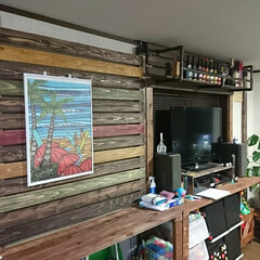 DIY収納 壁一面にテレビ台、カウンターテーブル、お…