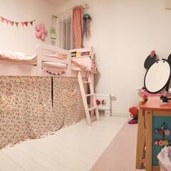 ピンクが好き/女子部屋/秘密基地/ベッド下収納/ことも部屋/DIY/... 娘の部屋をパノラマ撮影で撮ってみました(…