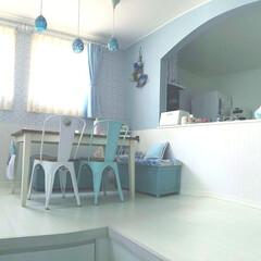 アーチ壁/R壁/mamの家具/ペンダントライト/ランプシェード/モザイクガラス/... 朝陽が差し込むわが家のリビングダイニング…(1枚目)