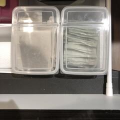 お茶パック収納/麦茶パック収納/麦茶のパック/キッチン収納 麦茶と緑茶はキャンドゥで購入した蓋が立つ…