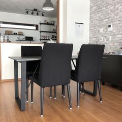 イケア/セリア/ダイソー/イス脚キャップ/セラミックテーブル/ダイニング/... ダイニングテーブルの位置を変えてみました…