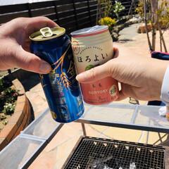 コストコ海鮮串/BBQ/おうちで過ごそう/おうちごはん 気持ちいい天気😄☀ 青空の下でBBQヽ(…