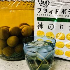 お家で過ごそう/至福のひととき/江戸切子/ポテチ/梅酒 片付けしてたら昨年作った梅酒が出てきまし…