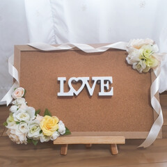 プレゼント/ウエルカムボード/コルクボード/ハンドメイド/DIY/雑貨/... 友人の結婚お祝いパーティー用にコルクボー…(1枚目)