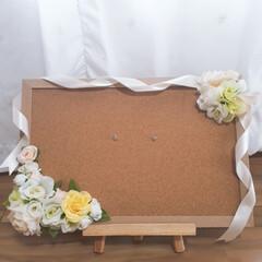 プレゼント/ウエルカムボード/コルクボード/ハンドメイド/DIY/雑貨/... 友人の結婚お祝いパーティー用にコルクボー…(2枚目)