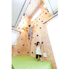 注文住宅/ボルダリング リビングの吹き抜けにボルダリング壁を設置…(1枚目)