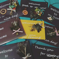 Welcomeボード/ウェルカムボード手作り/インテリア/お花のある暮らし/フラワーアレンジ/プリザーブドフラワー/... 皆さんこんにちわ😃  クリアファイルと工…(2枚目)