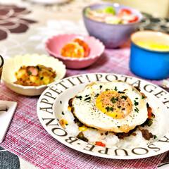 コーンスープ/ドライカレー/箸置き/いつもありがとう/ごちそうさま/朝ごはん/... 嫁さんが作ってくれた朝ごはん。ドライカレ…(2枚目)