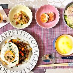 コーンスープ/ドライカレー/箸置き/いつもありがとう/ごちそうさま/朝ごはん/... 嫁さんが作ってくれた朝ごはん。ドライカレ…(7枚目)