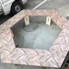 アウトドア/アウトドア用品/アウトドアグッズ/焚き火/キャンプ用品/キャンプ/... 続、六角テーブル 完成までもう少し。