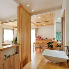 洗面台/2世帯住宅/インテリア/洗面/オープンエリア/廊下/... スペースの関係もあり 2世帯住宅の2階の…