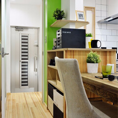 キッチン/ダイニング/テーブル/ダイニングテーブル/収納/収納棚/... キッチン横にダイニングテーブルと収納棚を…