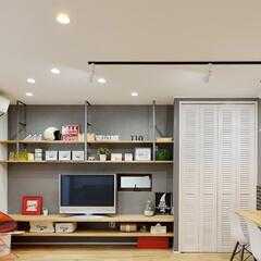 壁面収納/収納/収納棚/棚/壁紙/ディスプレイ/... リビングの収納をひとまとめにできる壁面収…