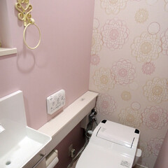 トイレ/ピンク/テキスタイル/壁/手洗い/棚/... 優しいスモーキーピンクをテーマとしてトイ…