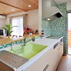 キッチン/収納/デザイン/グリーン/緑色/好きな色/... キッチンを好きな色のグリーンを活かしてリ…