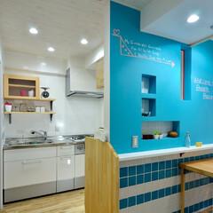 黒板塗料/壁/キッチン/リビング/ブルー/遊び心/... リフォームするときに キッチンとリビング…