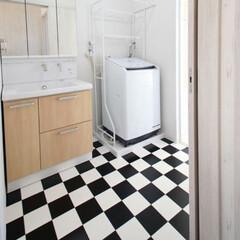 洗面/洗面室/床/ポップ調/住まい/家づくり/... 家全体のテーマは、アメリカンビンテージ。…