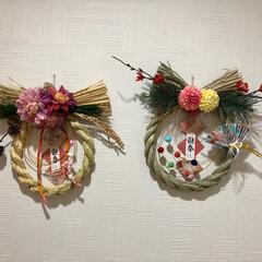 しめ縄飾り/正月飾り/ハンドメイド/フォロー大歓迎 お正月飾りを作ってみました❣️ 1枚目は…(2枚目)